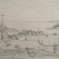 George Wallace - Falmouth Yard with Chickens, 1955, pencil