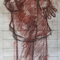 George Wallace - Preliminary drawing for print M244, Self Portrait in Striped Pyjamas, 1992, graphite and chalk