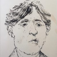 George Wallace - Ghost of Oscar Wilde, 1991, pen & ink over monotype