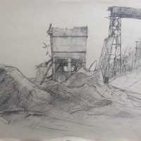 George Wallace - Gravel Quarry Ruins, Dundas, pencil,