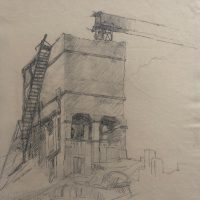 George Wallace - Gravel Quarry Ruins, Dundas, pencil