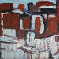 George Wallace - Horizontal Red, c.1956, oil painting on hardboard,