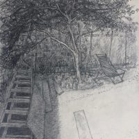 George Wallace - Huntington Place Back Garden, 1987, pencil