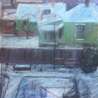 George Wallace - Winter view from back of Huntington Place, pastel