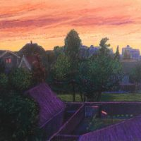 George Wallace - View from Back of Huntington Place, pastel