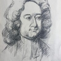 George Wallace - Jonathan Swift age 43, as he appears in Charles Jarvas' painting in the National Portrait Gallery, pencil
