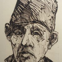 George Wallace - Man in a Fez, monotype