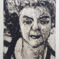 George Wallace - Blonde in Flashy Dress, 1989, monotype