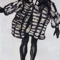 George Wallace - Jumping Girl in a Fur Coat II, 1989, monotype