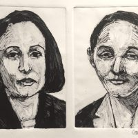 George Wallace - Two Businesswomen, 1989, monotype