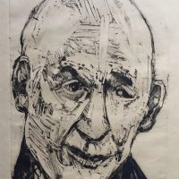 George Wallace - Charenton Revisited 4: Head of a Bald Man, 1991, monotype