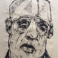 George Wallace - Charenton Revisited 8: Head of a Man in a White Hat, 1991, monotype