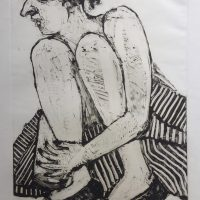 George Wallace - Beautiful Woman in a Striped Dress, 1991, monotype