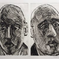 George Wallace - Two Businessmen, 1993, monotype