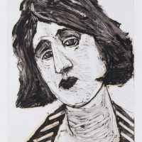 George Wallace - Young Woman in a Striped Dress, 1993, monotype
