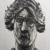 George Wallace - Head of a Woman with a Bauble Necklace, 1995, monotype