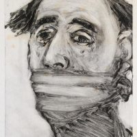 George Wallace - Gagged Man, 1988, monotype