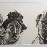 George Wallace - A Man and Two Women, 1997, monotype