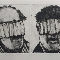 George Wallace - Prisoners, 2002, monotype, 4 impressions
