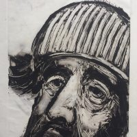 George Wallace - Bearded Man in a Striped Hat, 1988, monotype