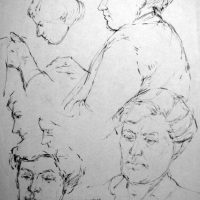 George Wallace - Margaret Wallace, 1949, pencil studies
