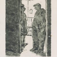 George Wallace - Man and a Woman in a Doorway - monotype - 1950