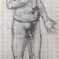 George Wallace - Naked GBW, preliminary drawing for print M287, Old Man Dreaming, 1994, pencil