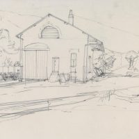 George Wallace - Avoca Station Yard, c.1950, pencil drawing