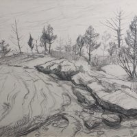 George Wallace - Pointe au Baril, 1964, pencil