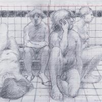 George Wallace - The Turkish Bath - Preparatory pencil drawing for print #126