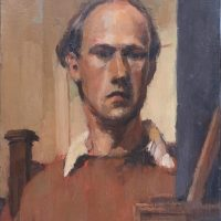 George Wallace - Self Portrait, c.1948, oil painting on board