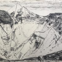 George Wallace - St Austell Claypit, 1955, charcoal