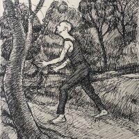 George Wallace - Study for print #58, Christ Walking in the Garden, 1971, ink