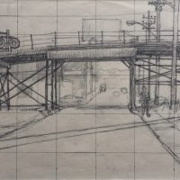 George Wallace - Preparatory drawing for print #61, Hamilton in Summer, 1972, pencil