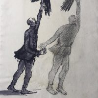 George Wallace - Study for sculpture Man Releasing Eagles, c.1973, ink and pencil