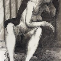 George Wallace - Seated Woman, study for print #145, Breakfast, c.1995, ink and wash