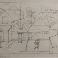 George Wallace - Study for a Painting, Bristol, 1947, pencil