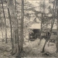 George Wallace - The Cottage at Carlyle Lake, pencil