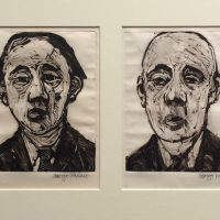 George Wallace - M136, 137, 138, 139, The Future Lies with Small Family Businesses, 1989, four monotypes