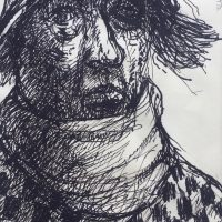George Wallace - Tramp, 1972, ink drawing