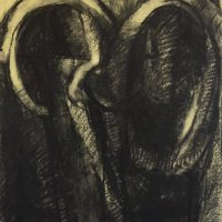 George Wallace - Twin Forms, conté & yellow chalk #3