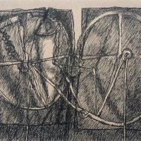 George Wallace - Twin Forms, pen & ink