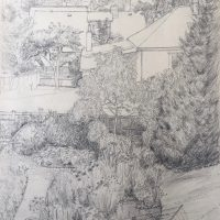 George Wallace - View from back of Huntington Place in summer, pencil