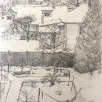 George Wallace - View from back of Huntington Place in winter, pencil