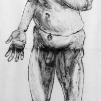 George Wallace - Old Man Dreaming II, self portrait with social security card & magical potency belt - monotype - 1994