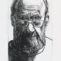 George Wallace - Christmas Self Portrait II - drypoint 2nd state - 1991