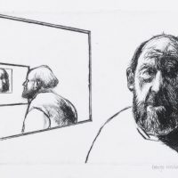 George Wallace - Christmas Self Portrait III-Diminishing Returns - drypoint - 1991