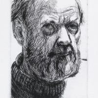 George Wallace - Christmas Self Portrait V - drypoint - 1991
