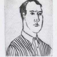 George Wallace - Man in a Striped Shirt - drypoint - 1992