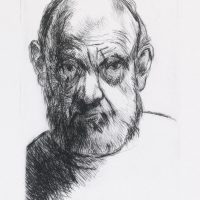 George Wallace - Scowling Self Portrait - drypoint 1992